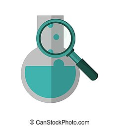 round bottom chemistry flask and magnifying glass icon