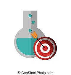 round bottom chemistry flask and bullseye  icon