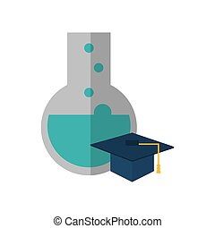 round bottom chemistry flask and graduation cap icon