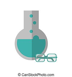 round bottom chemistry flask and glasses  icon