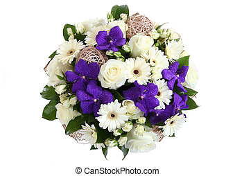 Round bouquet of three garden flowers: cream-colored roses,...