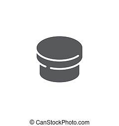 Round box vector icon symbol isolated on white background
