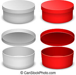 Round box vector template isolated on white background in white and red variant.