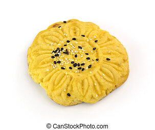 round bread with sesame on white background