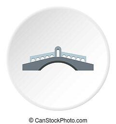 Round bridge icon, flat style