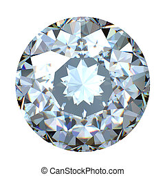 Round brilliant cut diamond perspective isolated on white...
