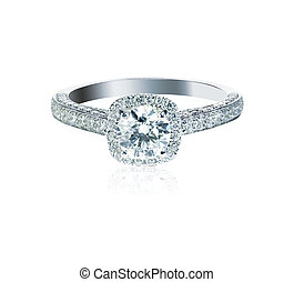 Round brilliant Diamond Wedding band engagement ring