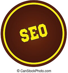 Round, brown and yellow, SEO stamp on white background.