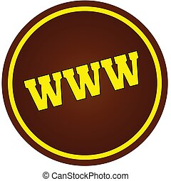 Round, brown and yellow, WWW stamp on white background.