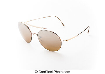 Round brown sunglasses isolated on white background