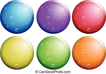 Round bubbles in six colors