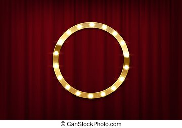 Round bulb frame on red curtains background. Vector design element.