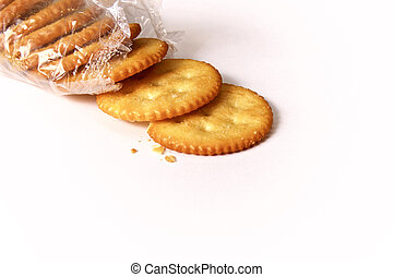round butter crackers in open package