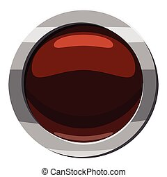 Round button click icon, cartoon style