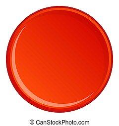 Round button icon, cartoon style