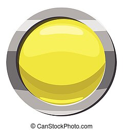 Round button icon, cartoon style