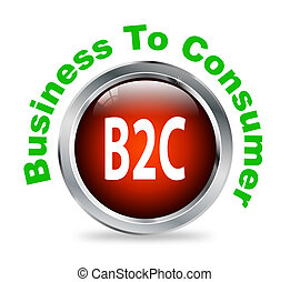 Round button of business to consumer - b2c