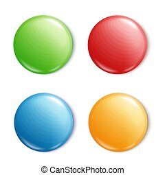 Round button pin set - blank mockup of colorful shiny circle shapes with text space in green, red, blue, yellow color