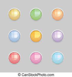 Round Button Template Set. Vector