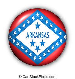 Round Button USA State Flag of Arkansas