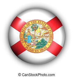 Round Button USA State Flag of Florida