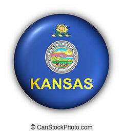 Round Button USA State Flag of Kansas