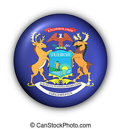 Round Button USA State Flag of Michigan