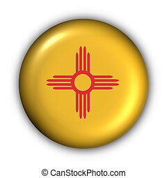 USA States Flag Button Series - New Mexico (With Clipping Path)
