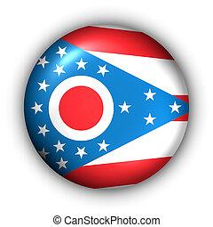 Round Button USA State Flag of Ohio