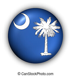 USA States Flag Button Series - South Carolina (With Clipping Path)