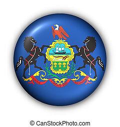 Round Button USA State Flag of Pennsylvania