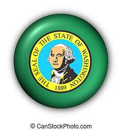 Round Button USA State Flag of Washington