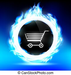 round button with a shopping trolley burns with a blue flame