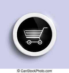 round button with a shopping trolley