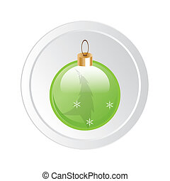 Round button with Christmas globe icon. Abstract isolated
