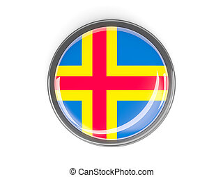 Round button with flag of aland islands