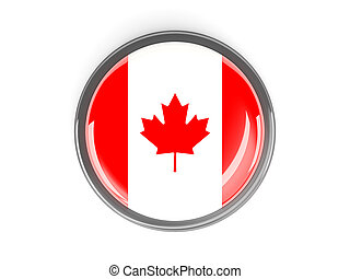 Round button with flag of canada