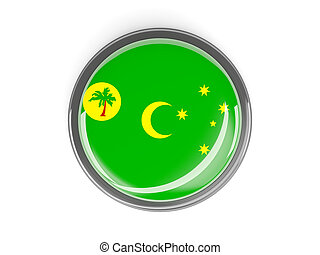 Round button with flag of cocos islands