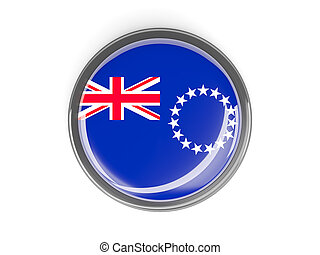 Round button with flag of cook islands