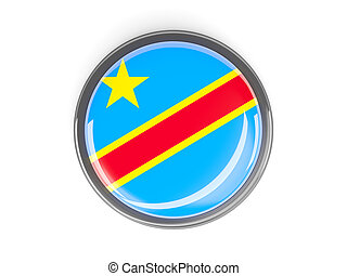 Round button with flag of democratic republic of the congo