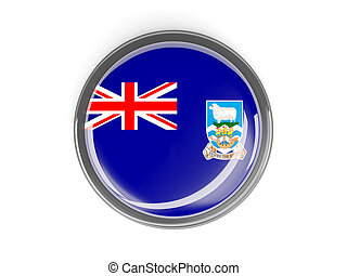 Round button with flag of falkland islands