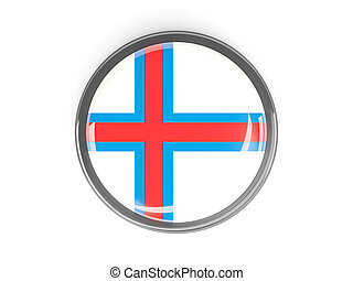Round button with flag of faroe islands