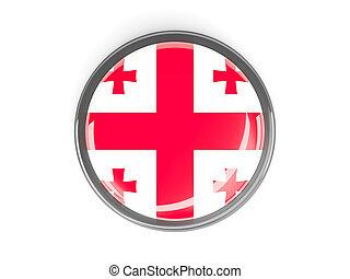 Round button with flag of georgia