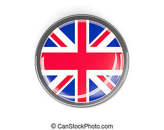 Round button with flag of united kingdom