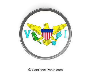 Round button with flag of usa virgin islands