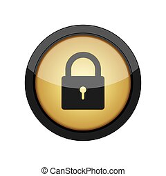 Round button with padlock icon. Vector illustration.