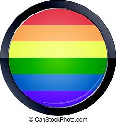 Round button with rainbow flag