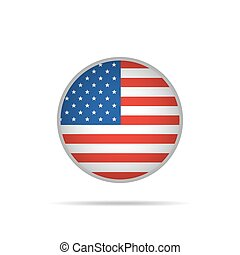 Round button with USA flag. Vector Illustration.