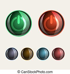 round buttons, glass set