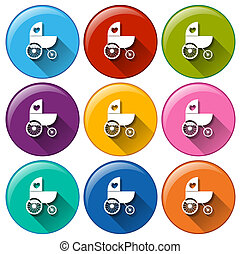 Round buttons with a baby stroller